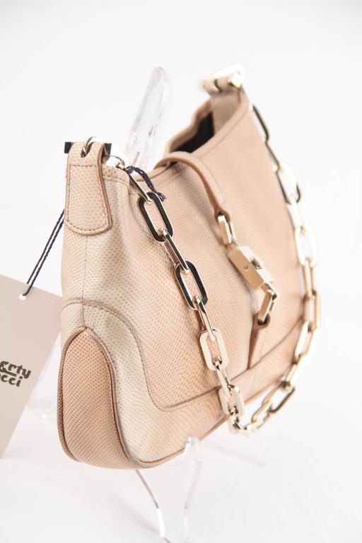 Gucci Beige Lizard Jackie Shoulder Bag Leather W/ Chain Tom Ford Era bt6sk
