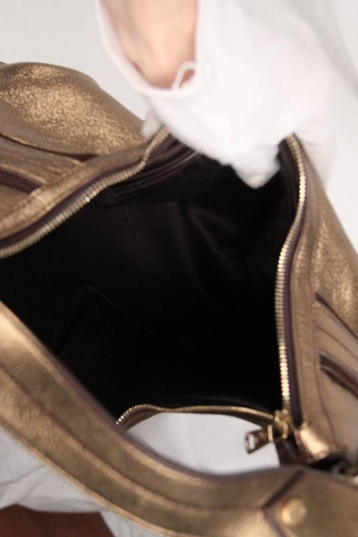 Yves Saint Laurent Rive Gauche Gold Tone Metallic Leather Hobo For Sale 4