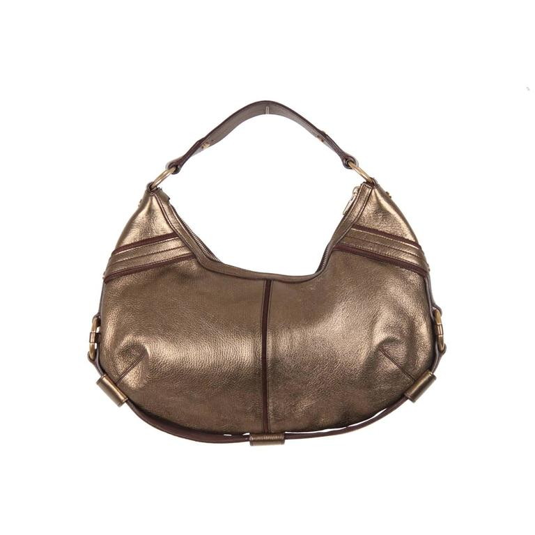 Yves Saint Laurent Rive Gauche Gold Tone Metallic Leather Hobo For Sale