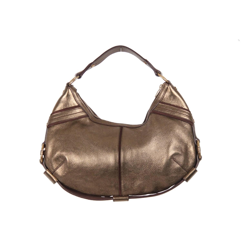 de21ca5415 Yves Saint Laurent Rive Gauche Gold Tone Metallic Leather Hobo For Sale at  1stdibs