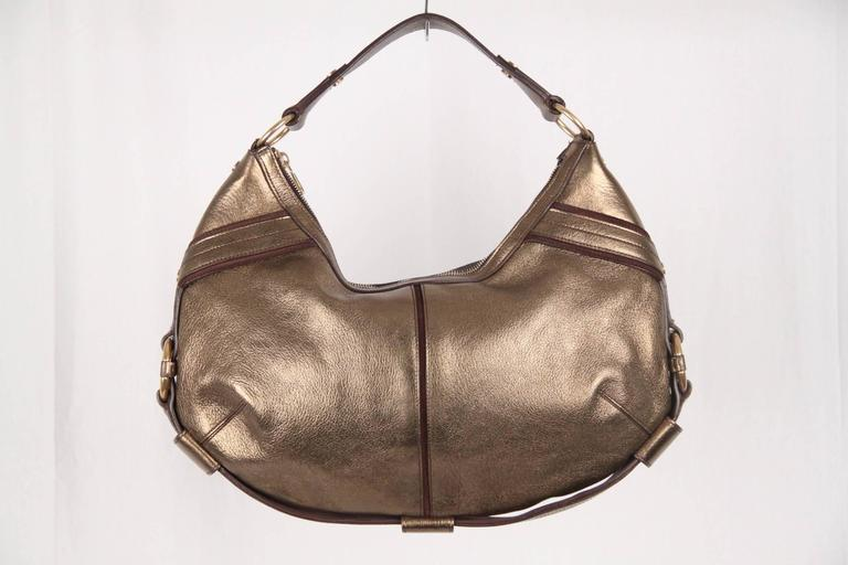 Yves Saint Laurent Rive Gauche Gold Tone Metallic Leather Hobo In Good Condition For Sale In Rome, Rome