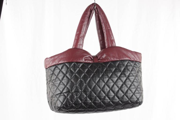 82dad5a1e29a Chanel Black/Burgundy Reversible Leather Coco Cocoon Tote Handbag For Sale 4