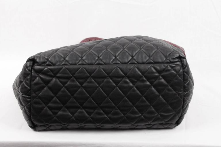 f162d1cd0b32c1 Chanel Black/Burgundy Reversible Leather Coco Cocoon Tote Handbag For Sale 3