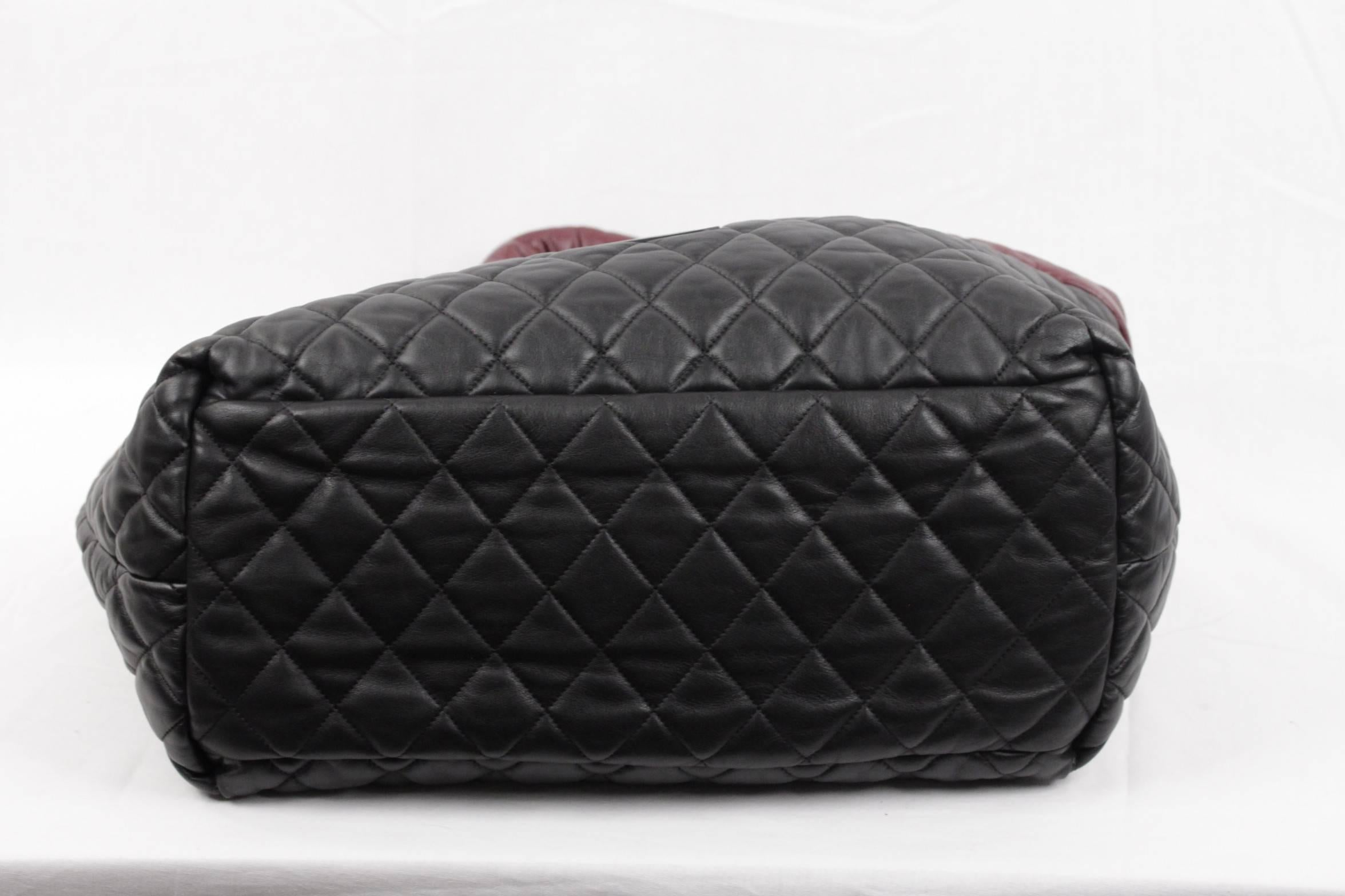 9cc9bf17e2be Chanel Black/Burgundy Reversible Leather Coco Cocoon Tote Handbag For Sale  at 1stdibs