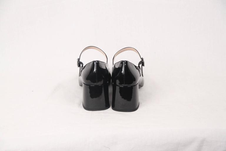 2ee59f6db PRADA Black Patent Leather MARY JANE PUMPS Shoes SIZE 40 1/2 In New  Condition