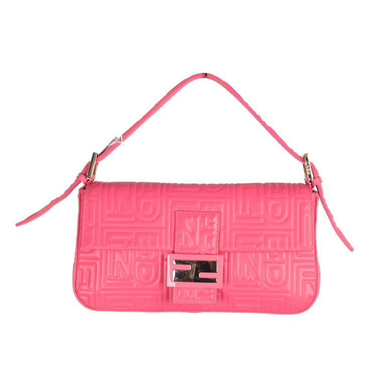9180f2a0a0fe FENDI Pink Logo Embossed Nappa Leather BAGUETTE BAG For Sale at 1stdibs