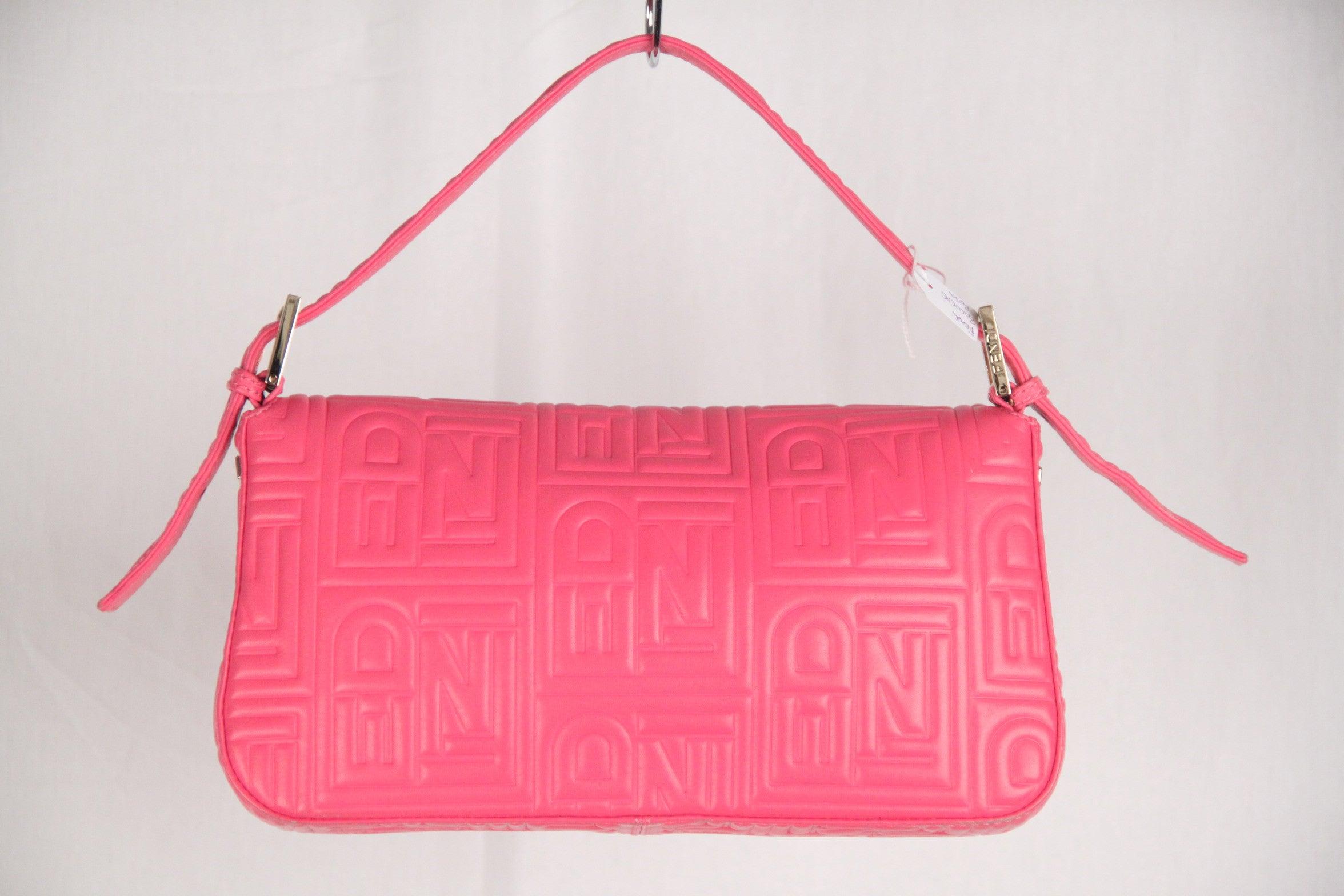c76b7ab5d3 FENDI Pink Logo Embossed Nappa Leather BAGUETTE BAG For Sale at 1stdibs