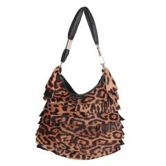 YVES SAINT LAURENT Pony Hair Leopard St TROPEZ BAG Tiered Hobo