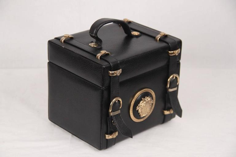 Gianni Versace Vintage Black Leather Medusa Train Case Bag