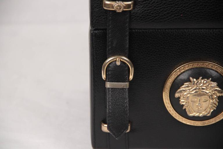 Gianni Versace Vintage Black Leather Medusa Train Case Bag