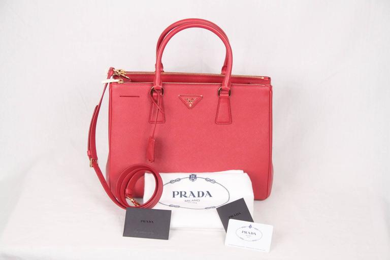 PRADA Red FUOCO SAFFIANO LUX Leather TOTE Satchel 1BA274 5