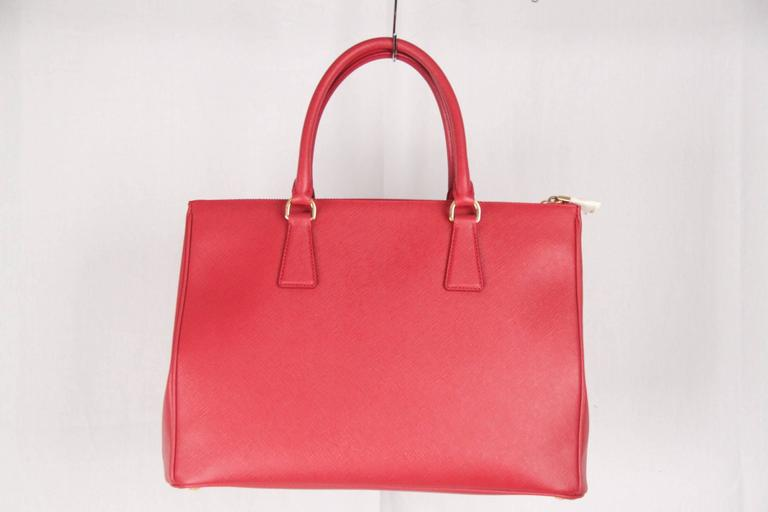 PRADA Red FUOCO SAFFIANO LUX Leather TOTE Satchel 1BA274 6