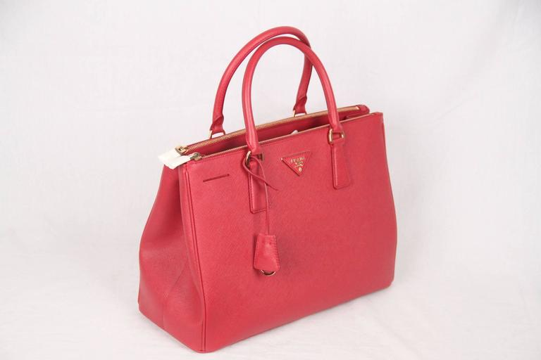 PRADA Red FUOCO SAFFIANO LUX Leather TOTE Satchel 1BA274 2