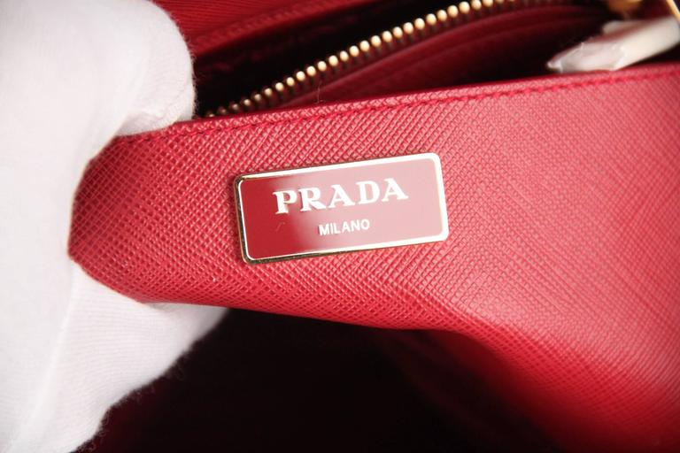 PRADA Red FUOCO SAFFIANO LUX Leather TOTE Satchel 1BA274 7