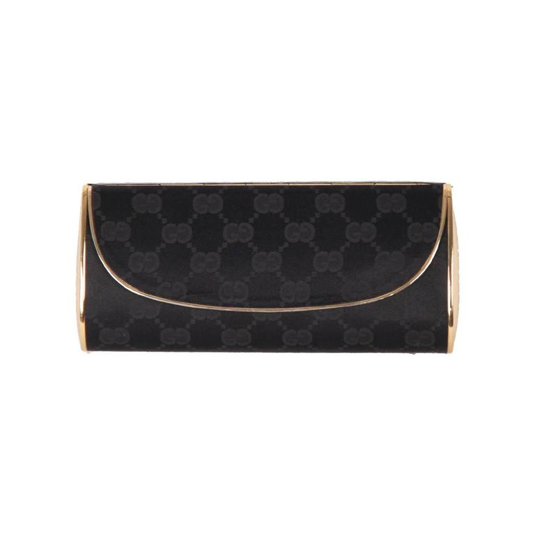 GUCCI VINTAGE Black MONOGRAM Metal EVENING BOX CLUTCH Handbag