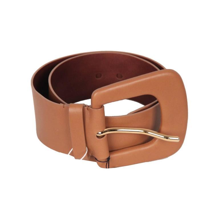 MAISON MARTIN MARGIELA Line 11 Tan Leather WIDE BELT Big Buckle SIZE 95 For Sale