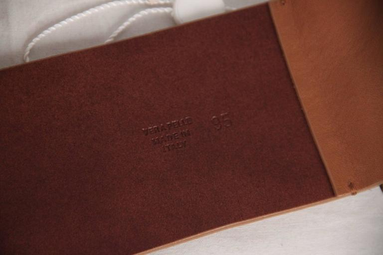 MAISON MARTIN MARGIELA Line 11 Tan Leather WIDE BELT Big Buckle SIZE 95 In Excellent Condition For Sale In Rome, Rome