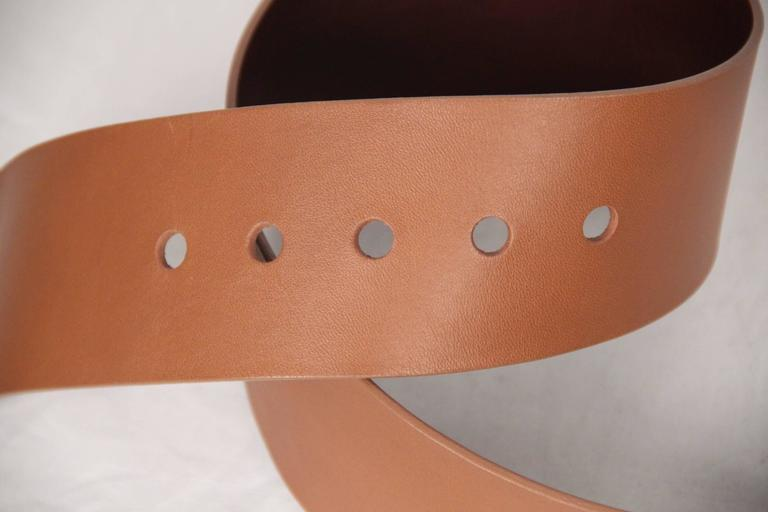 Brown MAISON MARTIN MARGIELA Line 11 Tan Leather WIDE BELT Big Buckle SIZE 95 For Sale