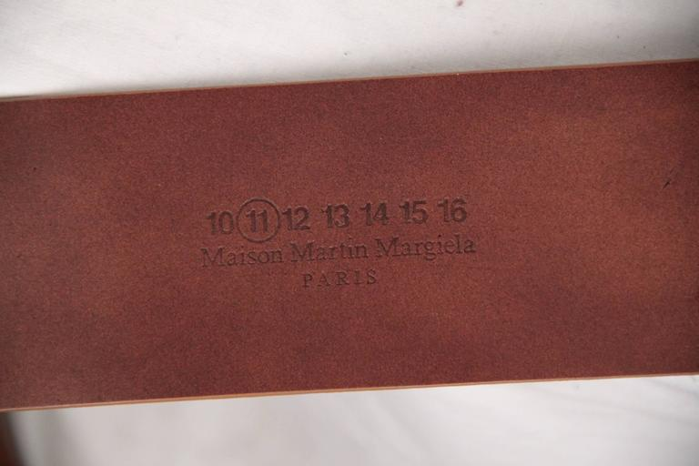 Women's MAISON MARTIN MARGIELA Line 11 Tan Leather WIDE BELT Big Buckle SIZE 95 For Sale