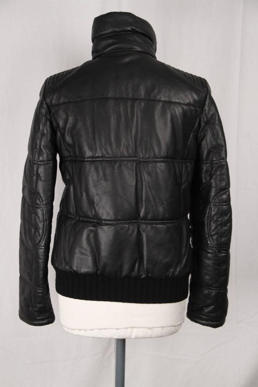 Emporio Armani Black Leather Padded Bomber Down Jacket