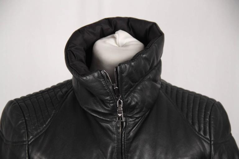 Emporio Armani Black Leather Padded Bomber Down Jacket Size 40 For