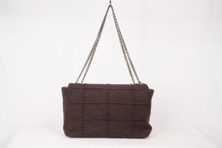 CHANEL IDENTIFICATION Brown Chocolate Bar Wool MADEMOISELLE FLAP BAG 6