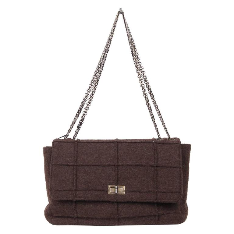 CHANEL IDENTIFICATION Brown Chocolate Bar Wool MADEMOISELLE FLAP BAG 1