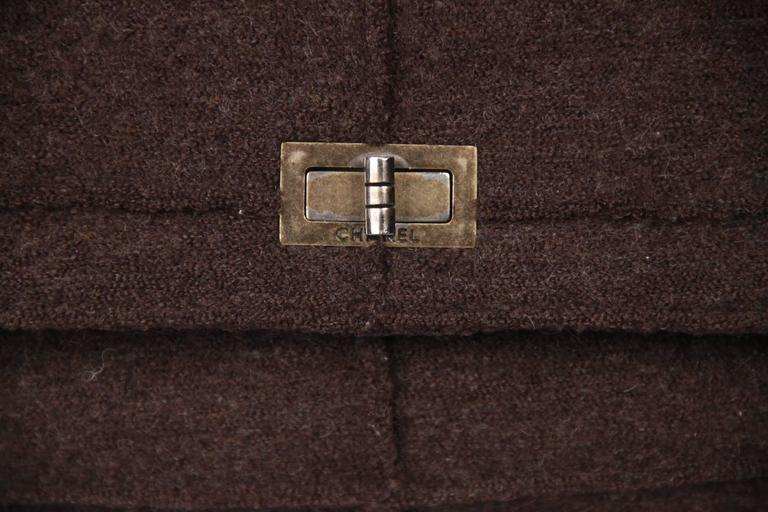 CHANEL IDENTIFICATION Brown Chocolate Bar Wool MADEMOISELLE FLAP BAG 2