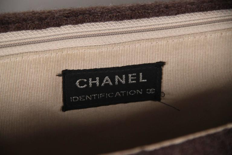 CHANEL IDENTIFICATION Brown Chocolate Bar Wool MADEMOISELLE FLAP BAG 7