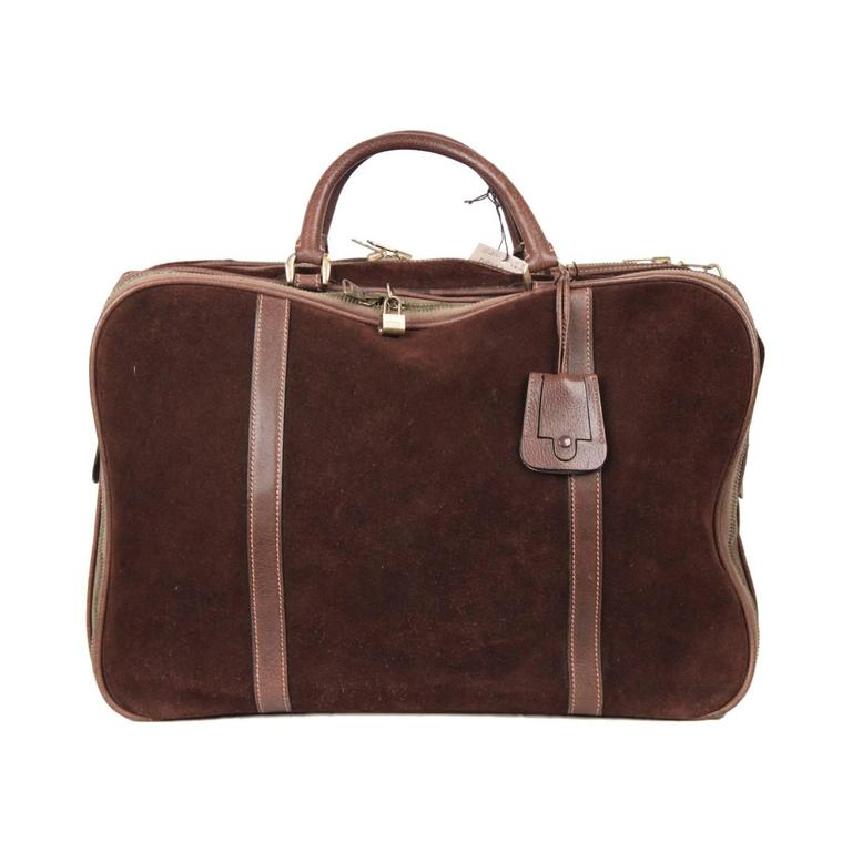 8db90374e98f GUCCI Vintage Brown Suede CABIN SIZE SUITCASE Travel Bag at 1stdibs
