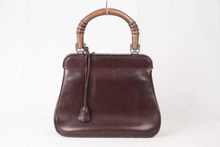GUCCI Rare VINTAGE 50s Brown Leather LADY LOCK BAG Original Issue 5