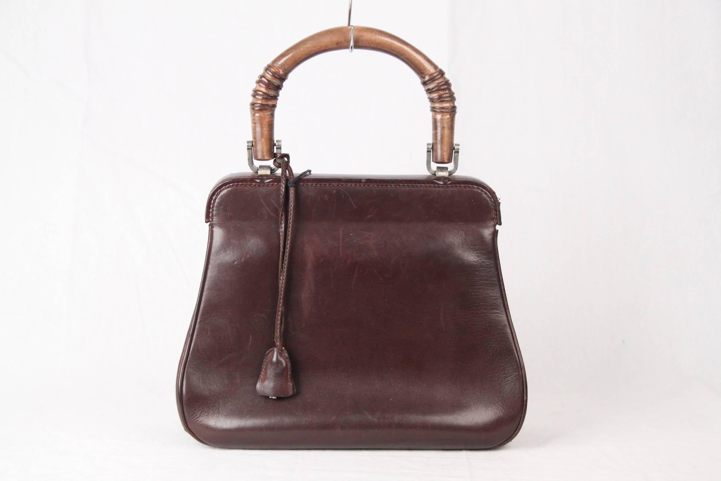 09a16f36bf GUCCI Rare VINTAGE 50s Brown Leather LADY LOCK BAG Original Issue at 1stdibs