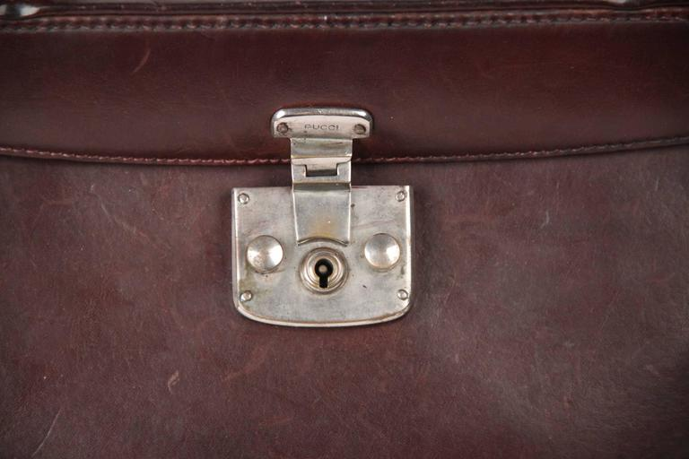GUCCI Rare VINTAGE 50s Brown Leather LADY LOCK BAG Original Issue 2