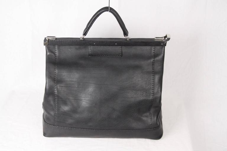 Women's or Men's VINTAGE Black Leather LARGE Doctor Bag TRAVEL BAG Weekender For Sale