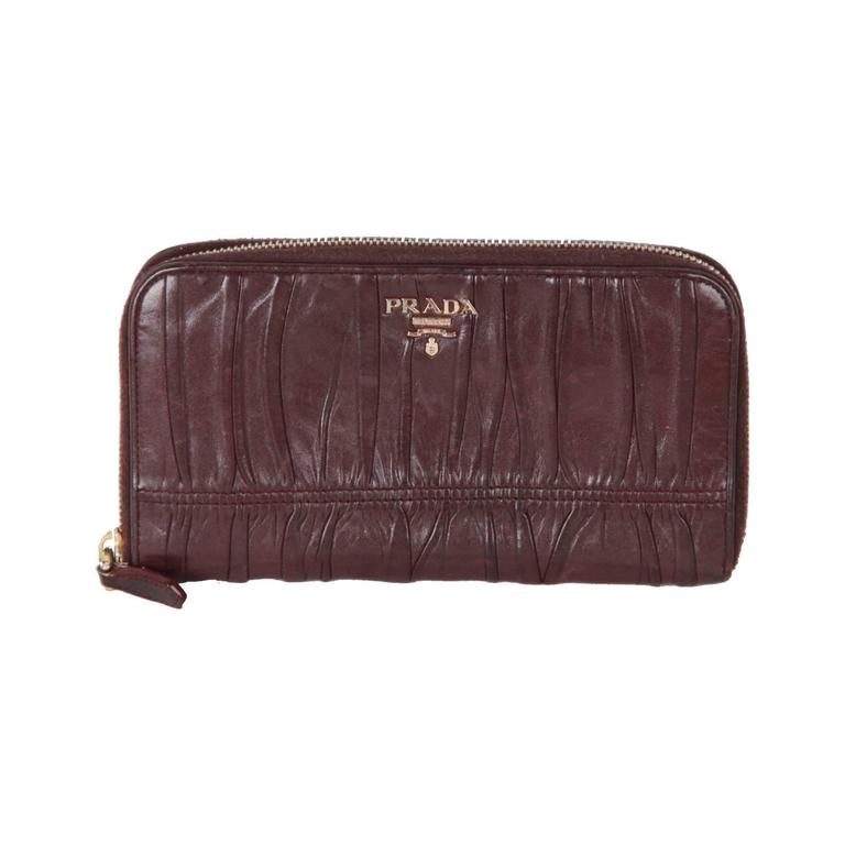 2f1a3a988aa1 PRADA Purple NAPPA GAUFRE Leather ZIP Continental WALLET For Sale at ...