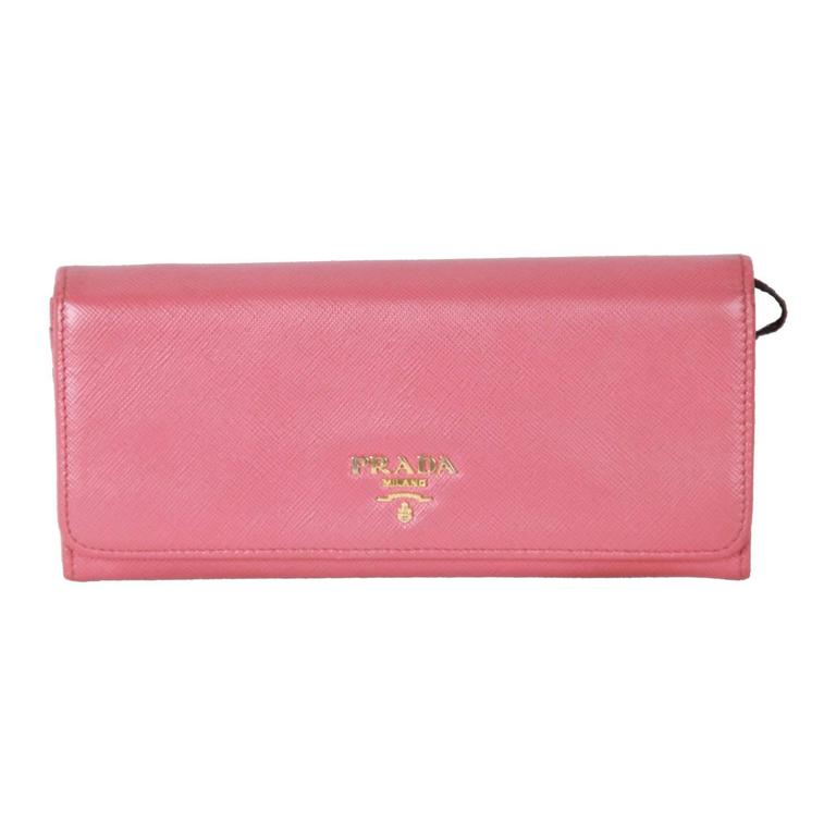 0cdb5e52619b82 PRADA Pink SAFFIANO Leather FLAP CONTINENTAL WALLET 1M1132 For Sale ...