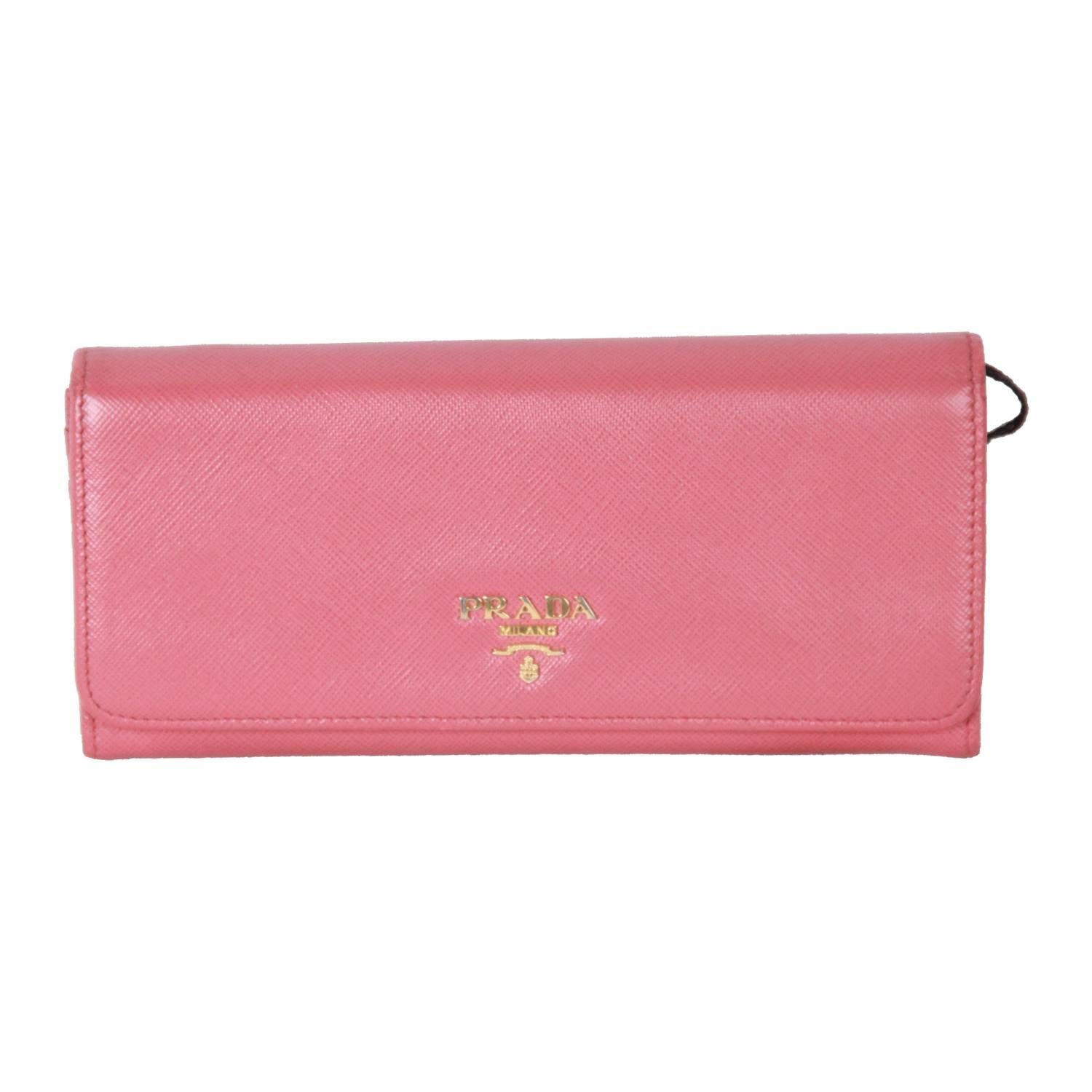 ba1438fa83ea PRADA Pink SAFFIANO Leather FLAP CONTINENTAL WALLET 1M1132 For Sale at  1stdibs