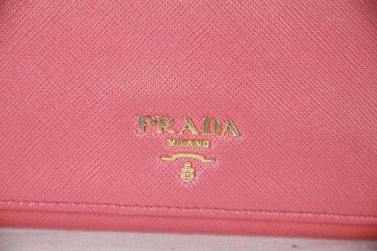 8a0464517a8a ... where can i buy leather flap wallet in pink color by prada saffiano  leather mod.