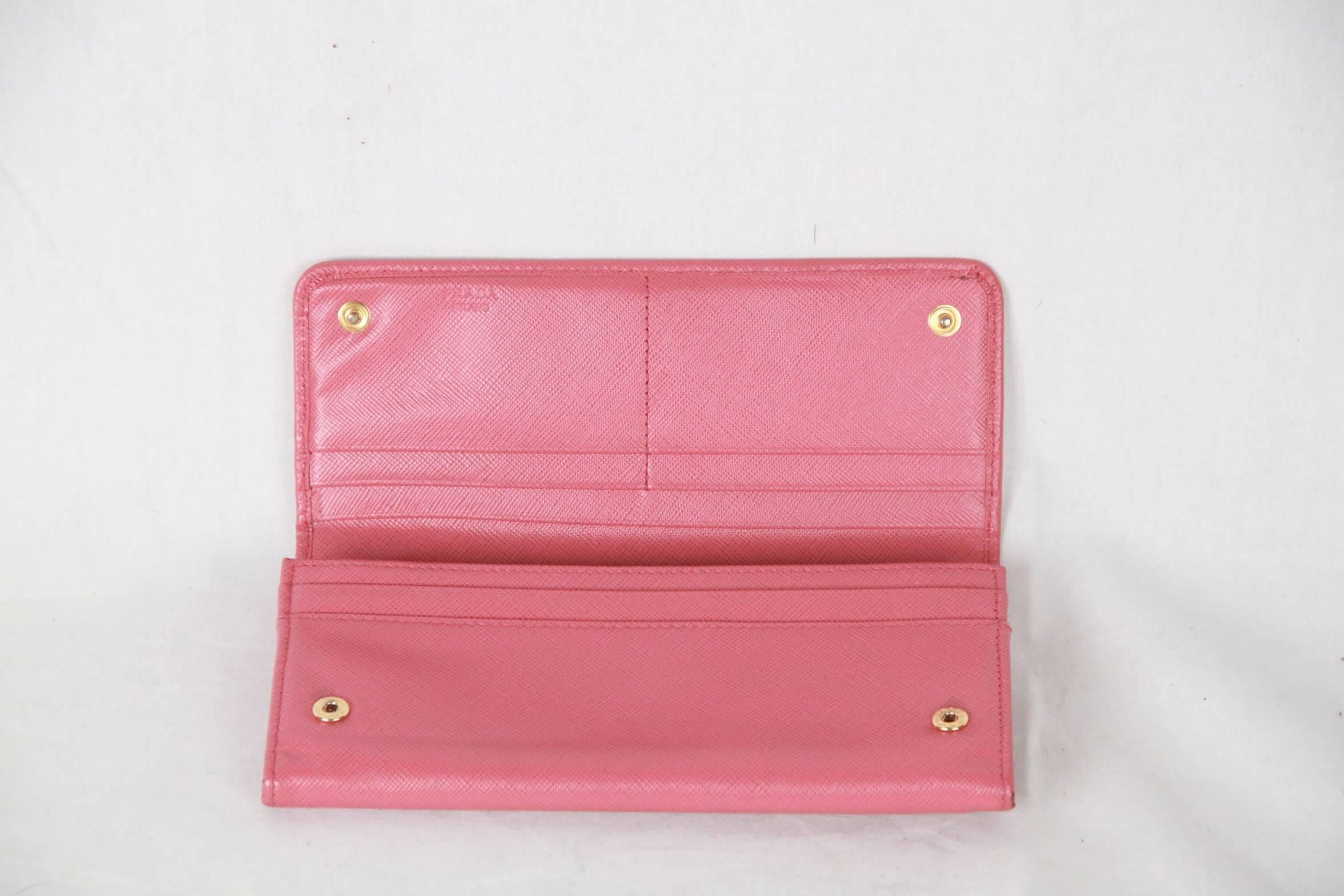 0955cf30d4ab PRADA Pink SAFFIANO Leather FLAP CONTINENTAL WALLET 1M1132 For Sale at  1stdibs