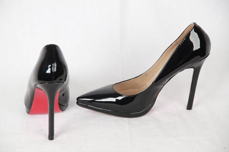 quality design c316a 99093 CHRISTIAN LOUBOUTIN Black Patent Leather PIGALLE PLATO Heels 37