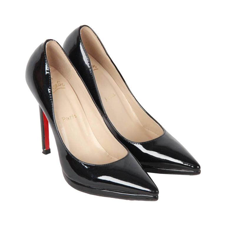 9cb00ebb60 CHRISTIAN LOUBOUTIN Black Patent Leather PIGALLE PLATO Heels 37 For Sale