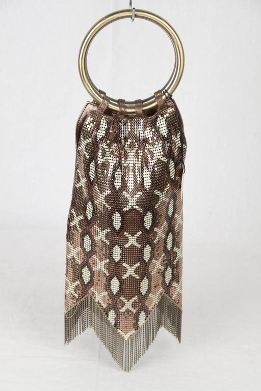 Women's Whiting & Davis Metal Mesh Finged Evening Bag For Sale