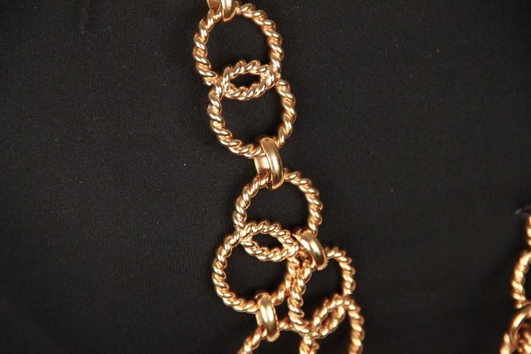 Chanel Gold Metal ring Chain Necklace or belt with CC Medallion For Sale 1