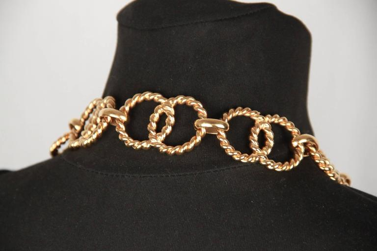 Chanel Gold Metal ring Chain Necklace or belt with CC Medallion For Sale 4