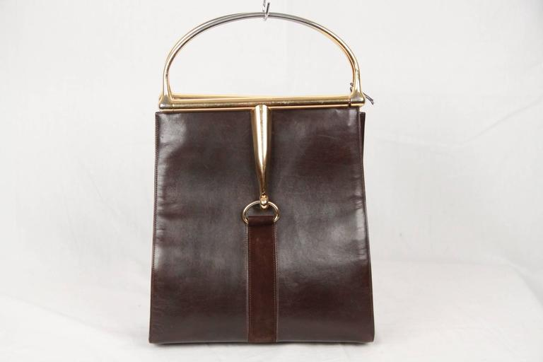 GUCCI Vintage Brown Leather HORSEBIT HANDLES TOTE Bag For Sale at ...