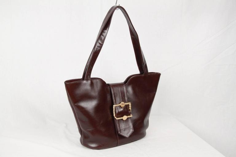 Black ROBERTA DI CAMERINO Brown Leather TOTE Shoulder Bag For Sale