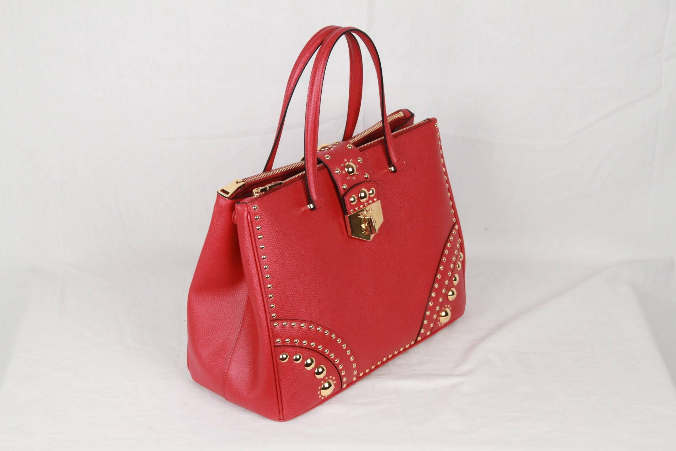 a04089093118 ... cheap prada red fuoco saffiano leather tote satchel w metal studs in  new condition for sale