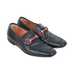 GUCCI Blue Leather LOAFERS Shoes w/ HORSEBIT Sz 41 E