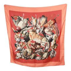 HERMES Vintage Silk Scarf GIBIERS 1966 Henry De Linares