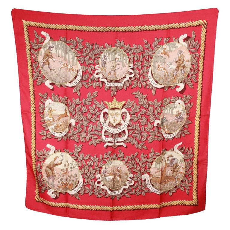 HERMES PARIS Red Silk Scarf TERMES DE VENERIE 1967 Charles Hallo For Sale